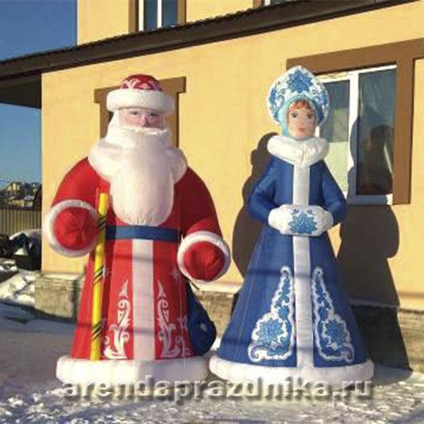 Надувной дед мороз, новогодние декорации, украшение шарами, снегурочка